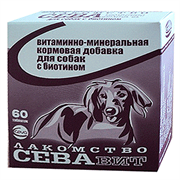 Севавит витаминно-минеральная кормовая добавка д/собак с биотином 60таб