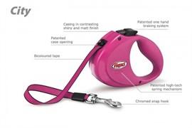 FLEXI рулетка-ремень для собак до 35кг, 2м (City Pink), розовая