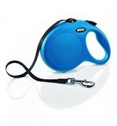 FLEXI рулетка-ремень для собак до 50кг, 8м, (New Classic L Tape 8 m, blue)