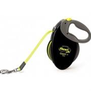 FLEXI рулетка-ремень для собак до 25кг, 8м (GIANT M Neon tape), черная+неон