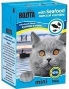 BOZITA Mini Кусочки в соусе для кошек с морским коктейлем, Chunks in Sauce with Seafood