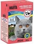 BOZITA Mini Кусочки в соусе для кошек с мяcным коктейлем, Chunks in Sauce with Meat Mix
