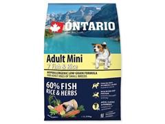 Корм Ontario для собак малых пород с 7 видами рыб и рисом, Ontario Adult Mini Fish & Rice