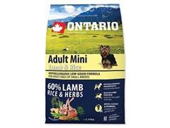 Корм Ontario для собак малых пород, с ягненком и рисом, Ontario Adult Mini Lamb & Rice & Rice
