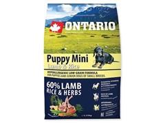 Корм Ontario для щенков малых пород с ягненком и рисом, Ontario Puppy Mini Lamb & Rice