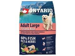 Корм Ontario для собак крупных пород с 7 видами рыбы и рисом, Ontario Adult Large Fish & Rice (12 кг)