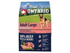Корм Ontario для собак крупных пород с говядиной и рисом, Ontario Adult Large Beef & Turkey (12 кг)