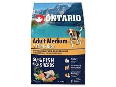 Корм Ontario для собак с 7 видами рыб и рисом, Ontario Adult Medium Fish & Rice (12 кг)