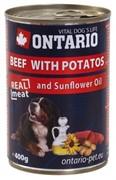 Ontario консервы для собак: говядина и картофель, ONTARIO konzerva Beef,Potatos,Sunflower Oil