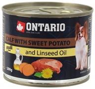 Ontario консервы для собак: телятина и батат, OTARIO Mini - Calf, Sweetpotato, Dandelion and linseed oil