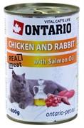 ONTARIO Консервы для кошек с курицей и кроликом Chicken, Rabbit&Salmon Oil