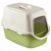 Beeztees 400418 Cathy Туалет-домик д/кошек бело-зеленый 56*40*40см