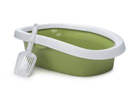 Beeztees 400327 Туалет д/кошек овальный с совком зеленый 58*39см