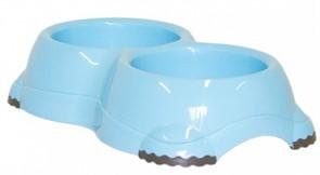 Moderna Двойная миска нескользящая Smarty, 2*330мл, голубая
