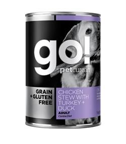 Консервы беззерновые с тушеной курицей, индейкой и мясом утки для собак GO! Grain Free Chicken Stew with Turkey + Duck - фото 13258