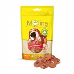 MOLINA Молина Молина Лакомство д/щенков Куриные медальоны с сыром и печенью , 65 г.  - фото 17555