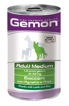 Gemon Dog Medium консервы для собак средних пород кусочки ягненка с рисом  - фото 18614