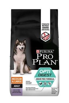 PRO PLAN сухой беззерновой корм для взрослых собак средних и крупных пород с чувствительным пищеварением - фото 21265