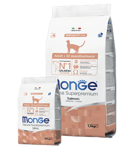 Monge Cat корм для взрослых кошек с лососем Salmon Adult Cat 10 кг - фото 27206