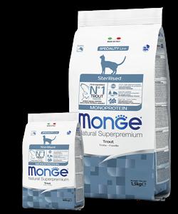Monge Cat Monoprotein Sterilised Trout корм для стерилизованных кошек с форелью 10 кг - фото 27207