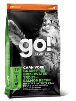 GO! SOLUTIONS CARNIVORE FRESHWATER TROUT + SALMON RECIPE FOR CATS Беззерновой для Котят и Кошек с Чувств.пищеварением: Форель, Лосось (7,26 кг) - фото 27366