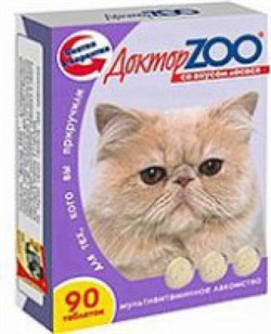 Доктор ЗОО м/в Лакомство д/кошек Лосось 90таб - фото 4865