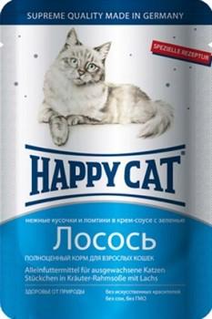 Happy Cat Хэппи Кэт пауч д/кошек кусочки в соусе Лосось Ломтики 100г - фото 5755