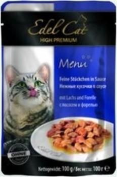 EDEL CAT Эдель Кэт пауч д/кошек кусочки в соусе с Лососем и Форелью 100г - фото 5763