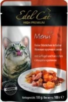 EDEL CAT Эдель Кэт пауч д/кошек кусочки в желе с Птицей и Кроликом 100г - фото 5769