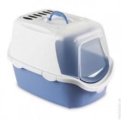 Beeztees  Cathy Туалет-домик д/кошек бело-голубой 56*40*40см - фото 5780