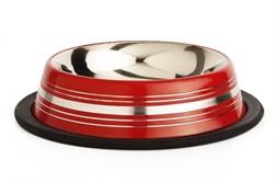 Beeztees  Миска д/кошек стальная нескользящая красная в полосочку 180мл*11см - фото 5950