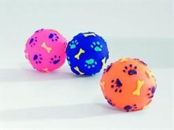 """Beeztees Игрушка д/собак """"Мячик с отпечатками лап и косточек"""", винил, в ассорт. 8см - фото 6348"""