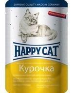 Happy Cat  Хэппи Кэт пауч д/кошек кусочки в яичном соусе Курочка Ломтики 100г - фото 7687