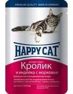 Happy Cat  Хэппи Кэт пауч д/кошек кусочки в соусе Кролик и Индейка с морковью 100г - фото 7688