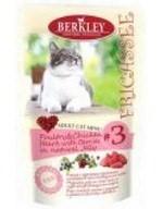 BERKLEY БЕРКЛИ пауч д/кошек №3 Фрикасе Птица с куриными сердечками и ягодами в желе - фото 7705