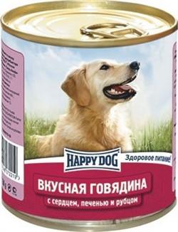 HAPPY DOG консервы д/с говядина с сердцем,печенью и рубцом 750г - фото 8322