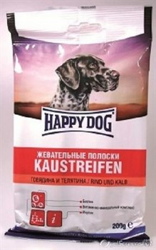 HAPPY DOG полоски д/с говядина 200г - фото 8395
