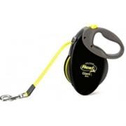 FLEXI рулетка-ремень для собак до 50кг, 8м (GIANT L Neon tape), черная+неон