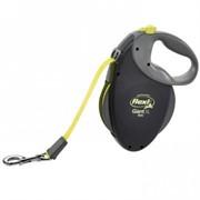 FLEXI рулетка-ремень для особо крупных и сильных собак, 8м от 50 кг (Giant XL Black Neon tape), черная+неон