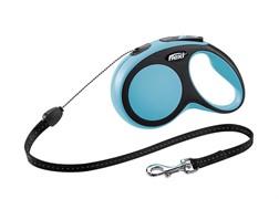 Поводок-рулетка для собак Flexi New Comfort S тросовый до 12кг, 8м, синяя