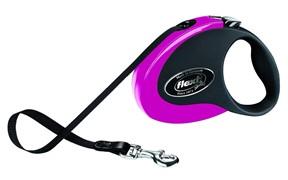 Поводок-рулетка 5м, до 25 кг, ленточный Collection M розовая