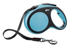 Поводок-рулетка для собак Flexi New Comfort L ленточный до 60кг, 5м Голубая