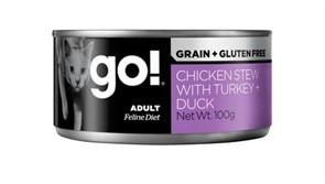Консервы беззерновые с тушеной курицей, индейкой и мясом утки для кошек GO! Grain Free Chicken Stew with Turkey + Duck