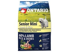 Корм Ontario для пожилых собак мелких пород Ягненок и Рис, Ontario Senior Mini Lamb & Rice (6,5 кг)