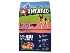 Корм Ontario для собак крупных пород с говядиной и рисом, Ontario Adult Large Beef &Turkey (12 кг)