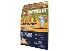 Корм Ontario Adult Medium Chicken & Potatoes для собак с курицей и картофелем (12 кг)
