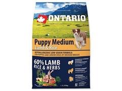 Корм Ontario для щенков с ягненком и рисом, Ontario Puppy Medium Lamb & Rice (6,5 кг)