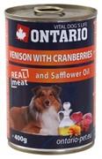 Ontario консервы для собак: оленина и клюква, ONTARIO konzerva Venison,Cranberries,Safflower Oil