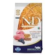 FARMINA N&D LG Сухой низкозерновой корм для взрослых кошек с ягненком, черникой, спельтой и овсом Adult Cat Lamb&Blueberry
