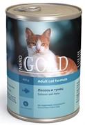 "NERO GOLD консервы для кошек ""Лосось и тунец"", Salmon and Tuna"
